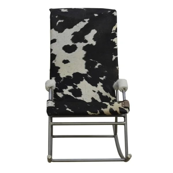 black and white cowhide chair repair aluminum lawn chairs shop rocking holden in on sale free shipping today overstock com 21018196