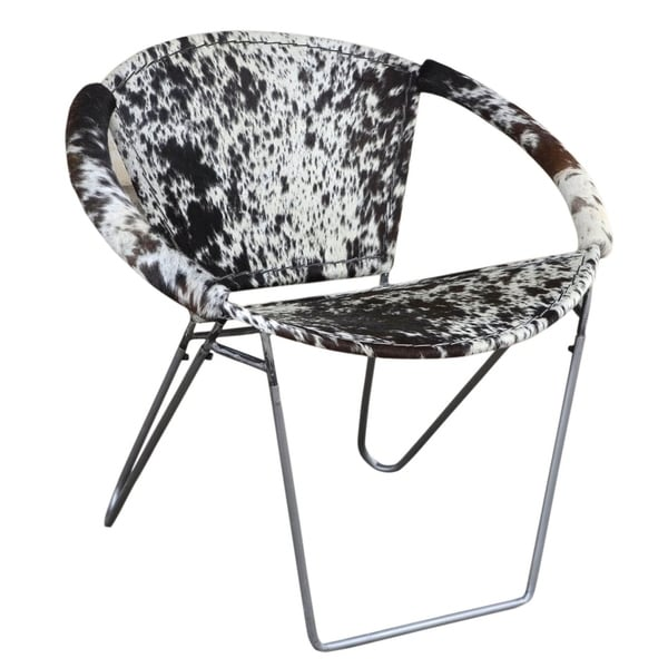 black and white cowhide chair wheel rentals shop modern armchair ulla in with silvered base on sale free shipping today overstock com 21018203