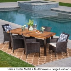 Best Outdoor Dining Chairs Dark Green Recliner Chair Buy Sets Online At Overstock Com Our Patio Tustin 7 Piece Acacia Wood Wicker Set By Christopher Knight Home