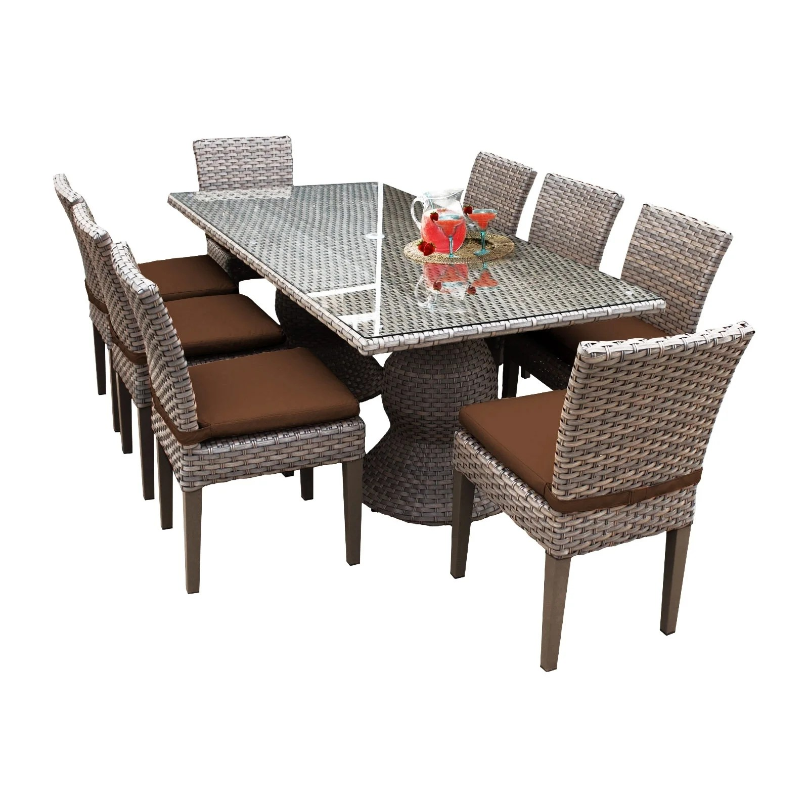 5 Bar Square Table Wicker Rattan Outdoor Tempered Glass As Dinning Coffer Table Kinbor Patio Bar Height Chairs Patio Furniture Accessories Patio Lawn Garden