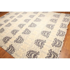 Contemporary Ikat Design Hand-Knotted Area Rug - Grey/Beige/Ivory - 9' x 12'