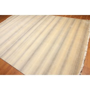 Wool & Silk Contemporary Full Pile Hand-Knotted Area Rug - Grey/Beige/Ivory - 8' x 10'