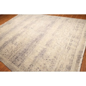 Industrial Chic Wool & Silk Hand-Knotted Area Rug - Grey/Beige/Ivory - 9' x 12'