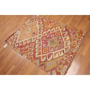 Southwest Vintage Turkish Kilim Flatweave Area Rug - Beige/Brown/Rust - 3' x 5'