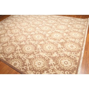 Transitional Floral Hand-Knotted Oriental Area Rug - Taupe/Beige/Off-white - 9' x 12'
