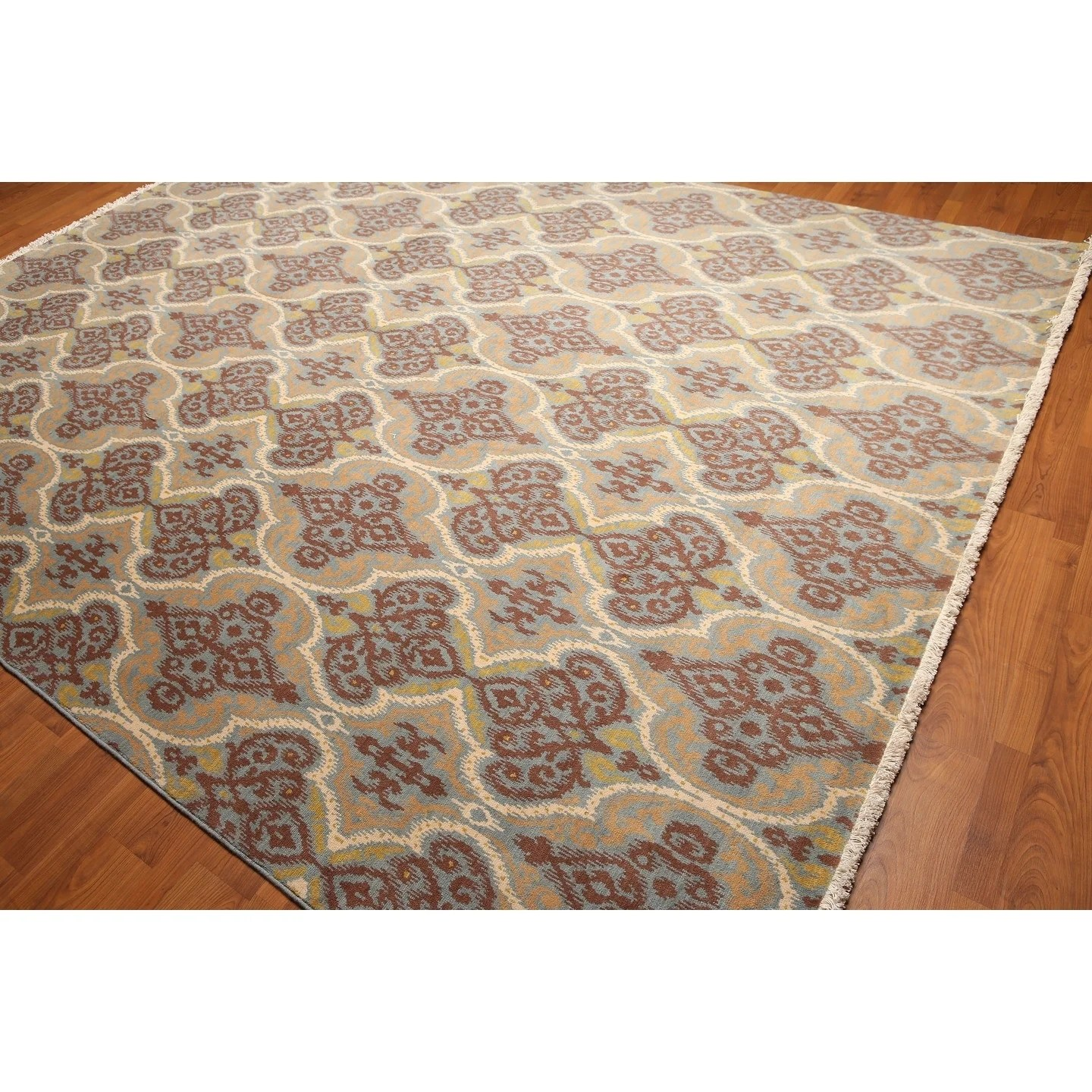 Transitional Full Pile Oriental Hand-Knotted Area Rug - Blue/Gold/Ivory - 9' x 12'