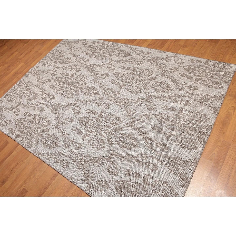 Reversible Damask Kilim Hand-Woven Flatweave Area Rug - Grey/Brown - 5' x 7'