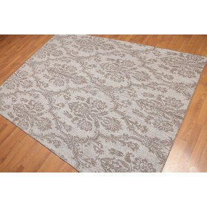 Reversible Damask Kilim Hand-Woven Flatweave Area Rug - Grey/Brown - 5' x 7'