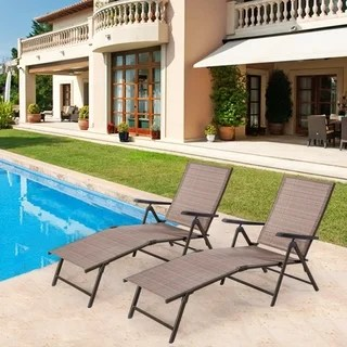 iron chaise lounge chairs black upholstered dining buy outdoor lounges online at overstock com our best tan chair set of 2