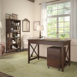 Bush Furniture Key West 48W Writing Desk with 2 Drawer Mobile File Cabinet and 5 Shelf Bookcase in Bing Cherry