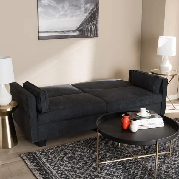 contemporary fabric sofas leather sectional sofa with power recliners shop sleeper by baxton studio free