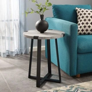 living room end tables ideas hdb buy glam coffee console sofa online at overstock com 18 round metal wrap side table x