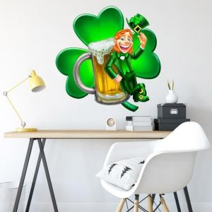 """Leprechaun Beer Clover Full Color Wall Decal Sticker K-1063 FRST Size 20""""x20"""""""