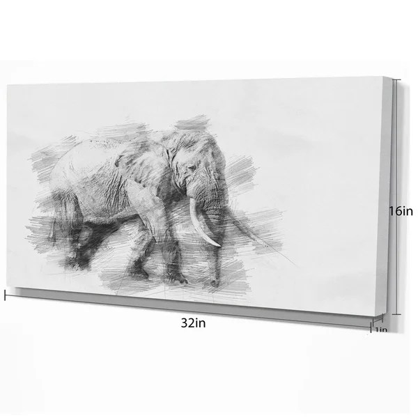 Shop Designart Elephant In Black And White Pencil Sketch Sketch Animals Painting Print On Wrapped Canvas Grey Overstock 21276143