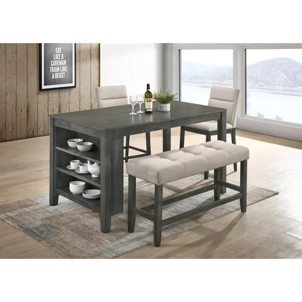 Best Quality Furniture Rustic Gray 4 Piece Counter Height Dining Set With 3 Shelf Storage On Sale Overstock 21295941
