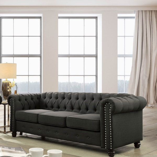 overstock sofa herman miller goetz reproduction shop furniture of america martine traditional tufted chesterfield
