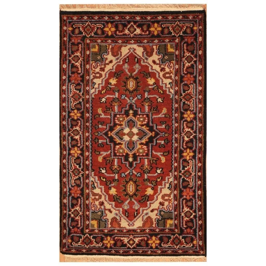 Handmade Herat Oriental Indo Hand-knotted Tribal Heriz Wool Rug (3' x 5'2)