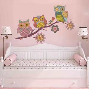 """Owls Tree Flowers Full Color Wall Decal Sticker K-1171 FRST Size 30""""x47"""""""