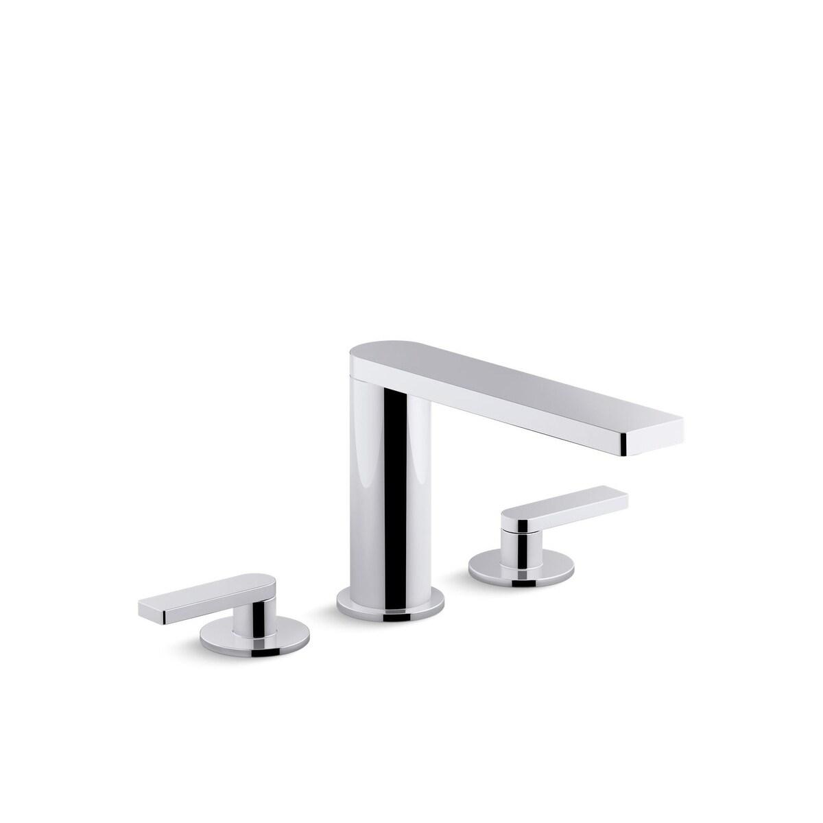 kohler composed widespread bathroom sink faucet with lever handles vibrant titanium