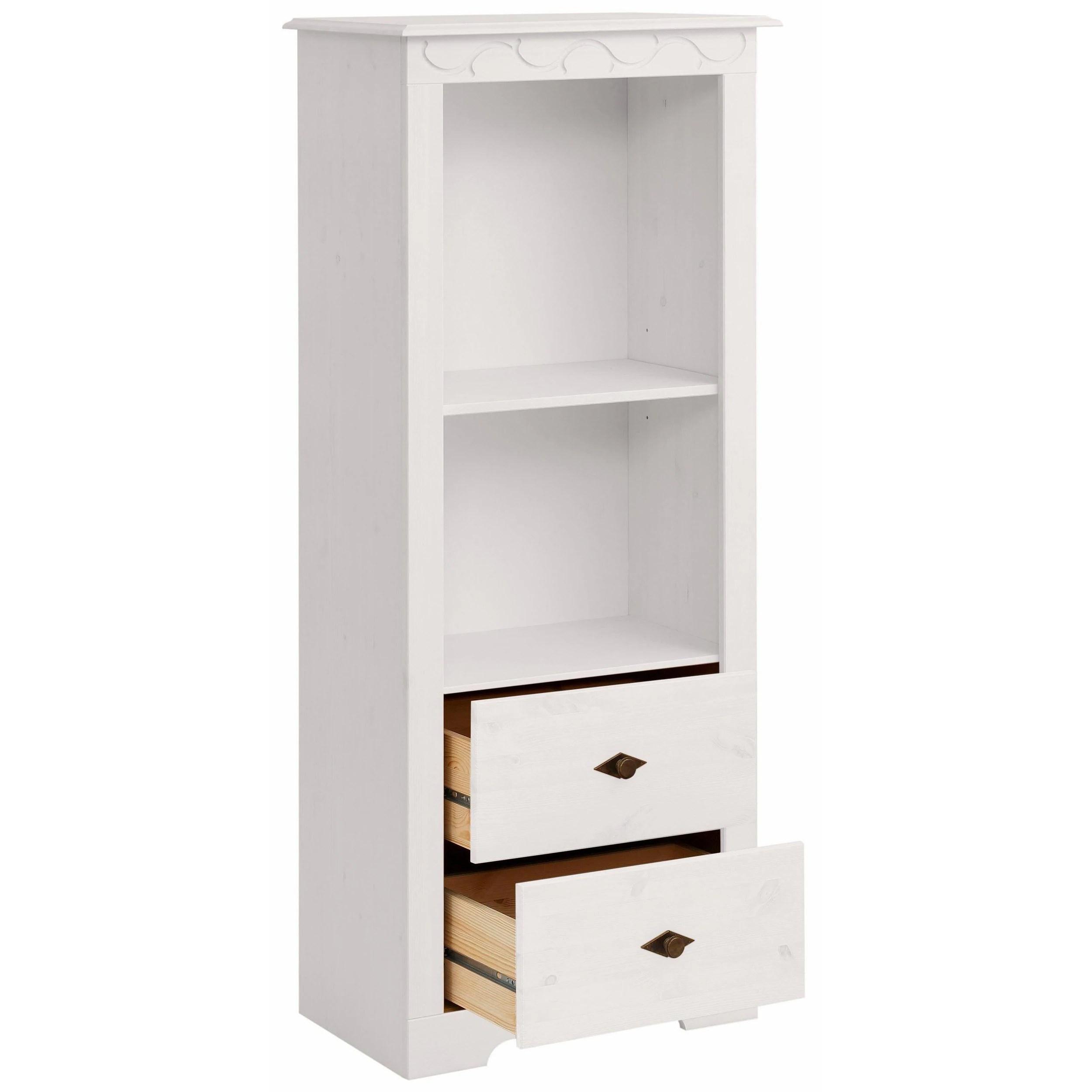Lando Bookcase Low Solid Pine Off White