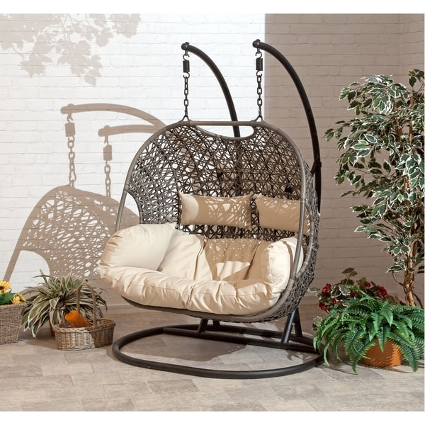 hanging chair double covers ebay shop brampton espresso cocoon swing with beige cushions free shipping today overstock com 21422385