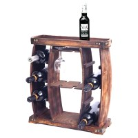 Shop Rustic Wooden Wine Rack with Glass Holder, 8 Bottle ...