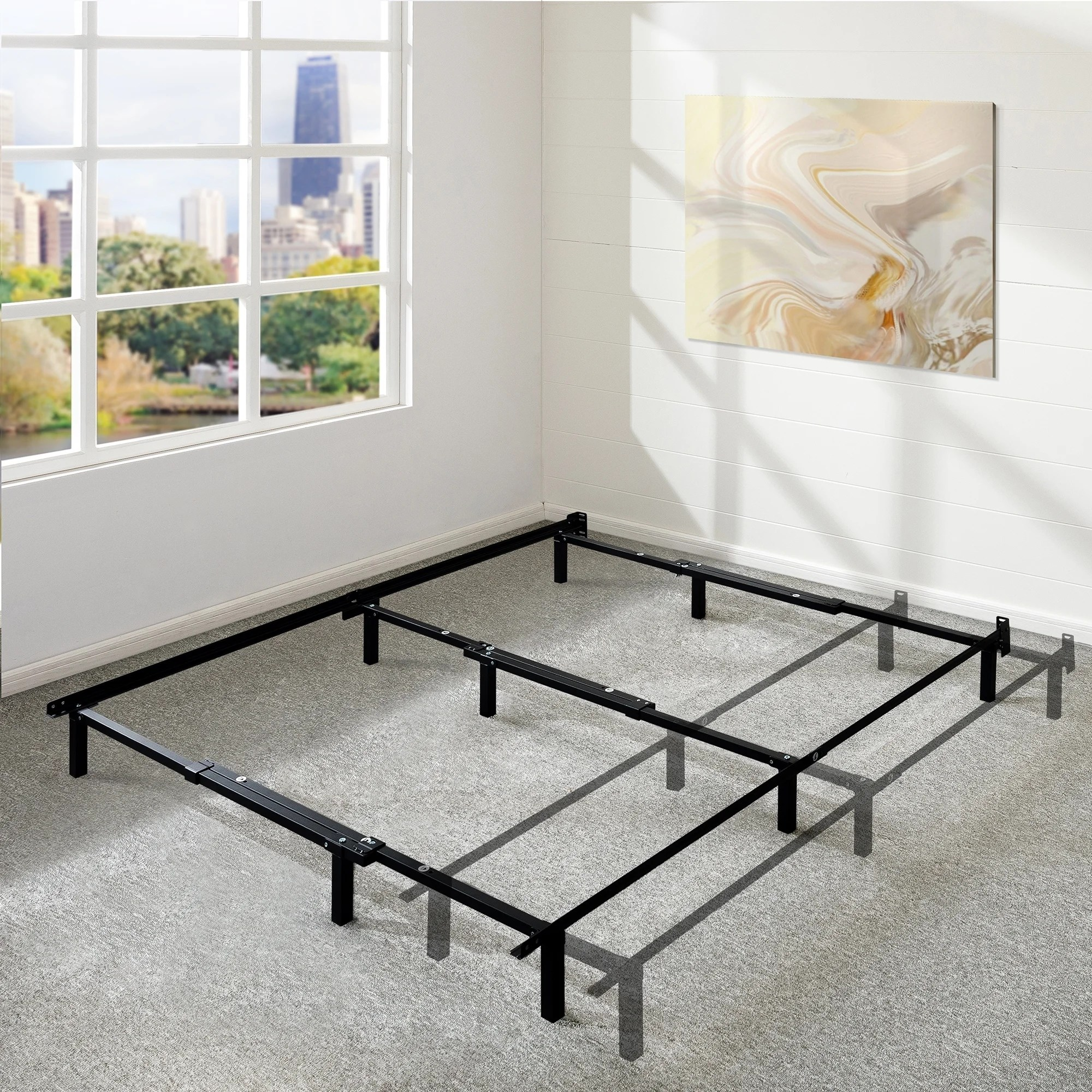 adjustable 7 inch metal platform bed frame compatible with twin full and queen size crown comfort