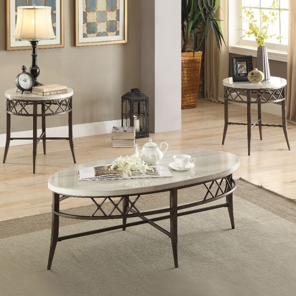 metal coffee table set with marble top