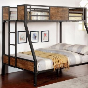 Wooden & Metal Frame Twin/Full Size Bunk Bed, Black