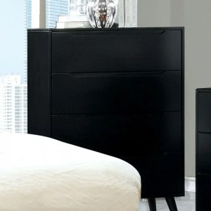 4- Drawer Wooden Chest With Round Tapered Legs, Black