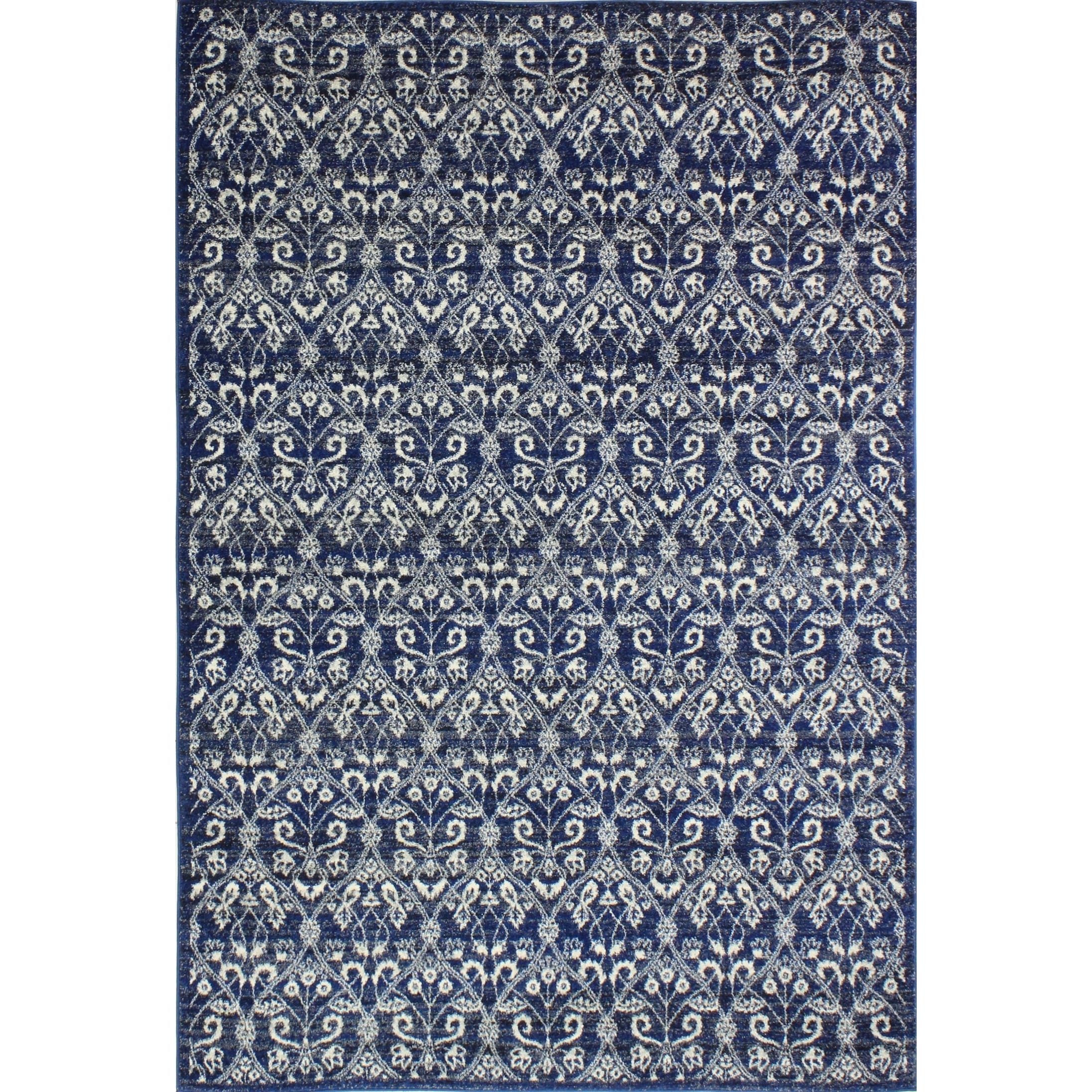 Roxana Dark Blue Transitional  Area Rug - 5' x 7'6""