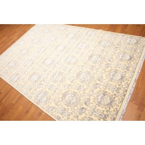 Damask Print Oriental Hand-Knotted Area Rug - Multi - 6'x9'