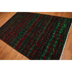 Funky Abstract Psychedelic Print Oriental Area Rug - Multi - 6'x9'