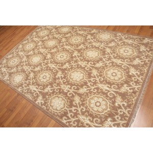 Hand-Knotted Damask Transitional Oriental Area Rug - 6'x9'