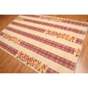 Floral Print Oriental Hand-Knotted Area Rug - Multi - 6'x9'
