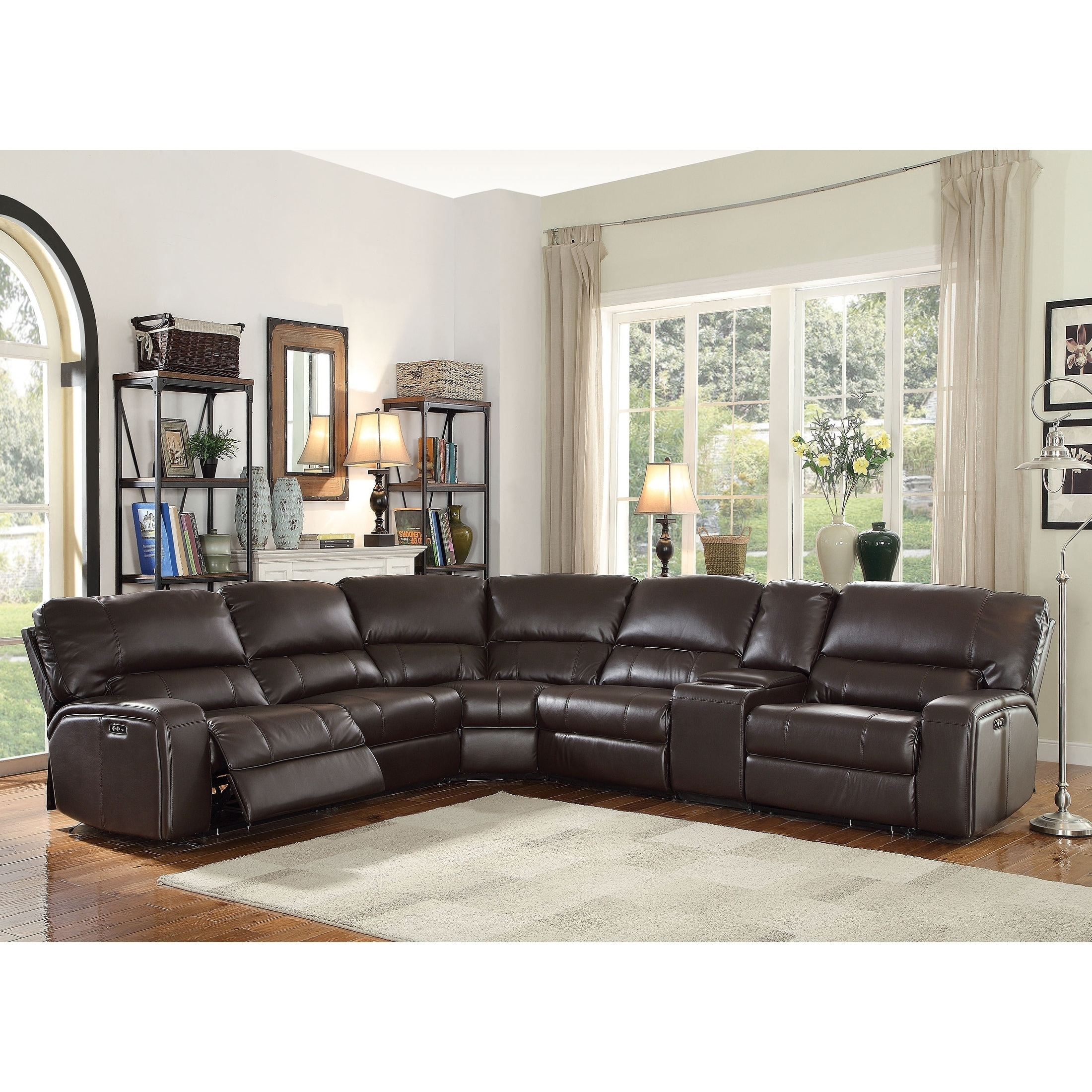 acme saul espresso leather aire sectional sofa with power motion