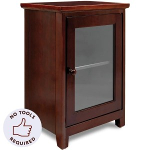 Stony Edge Night Stand  Two Shelf Wooden Bedside Table or End Table with Glass Door