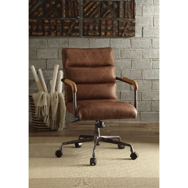 leather executive office chair old wooden chairs for sale shop metal retro brown on free shipping today overstock com 21693164