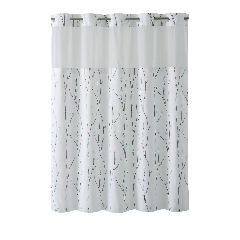 hookless shower curtain cherry bloom white blue