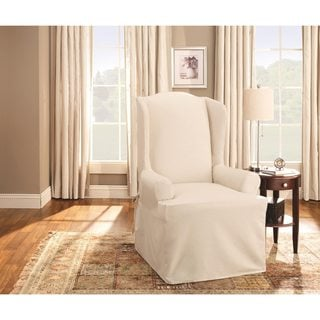 cotton recliner chair covers acrylic desk mats buy wing slipcovers online at sure fit duck slipcover