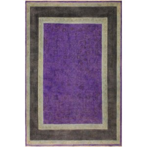 Overdyed Peshawar Kathalee Purple/Charcoal Area Rug (7'8 x 9'8) - 7 ft. 8 in. x 9 ft. 8 in.