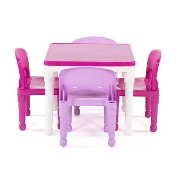 activity table and chair set slip covers for dining room chairs shop playtime 5 piece plastic kids squarev lego compatible white pink free shipping today overstock com 21801808