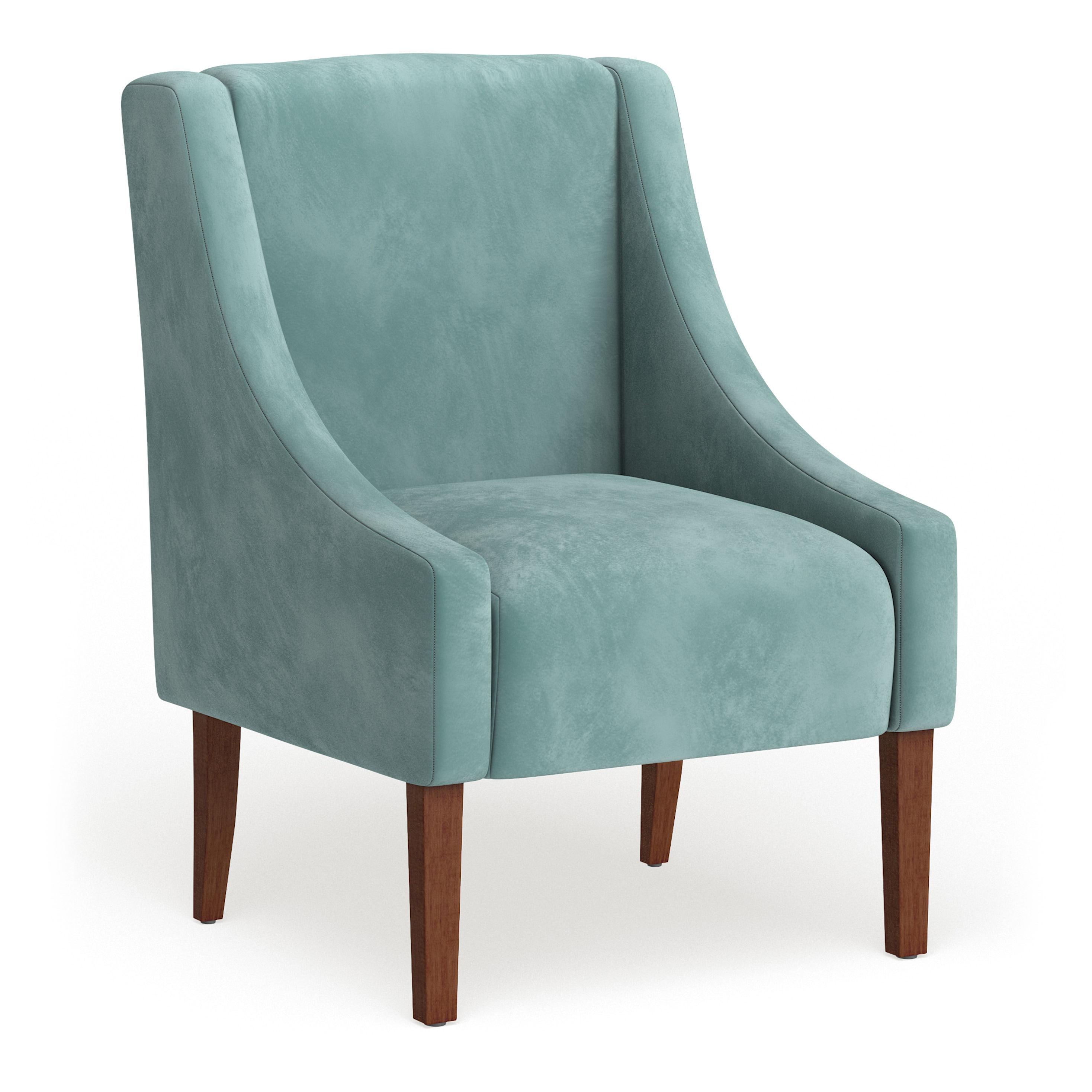aqua accent chair computer desk with porch den lyric blue velvet swoop arm details about