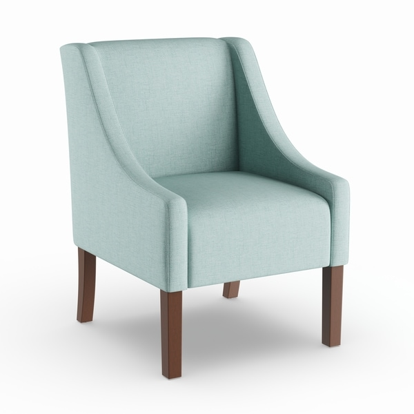 aqua accent chair bar table chairs shop porch den lyric blue swoop arm on sale amp