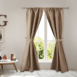 Greenland Home Burlap Curtain Panel Pair With Tiebacks Overstock 21827581