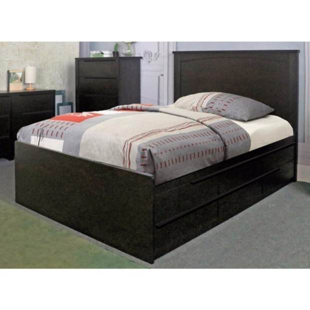 Plush Dark Brown Finish Twin Size Chest Bed With 6 Drawers on metal glides.