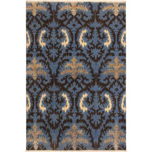 Cianna Modern Leia Lt. Blue/Charcoal Wool Area Rug (4'1 x 5'8) - 4 ft. 1 in. x 5 ft. 8 in.