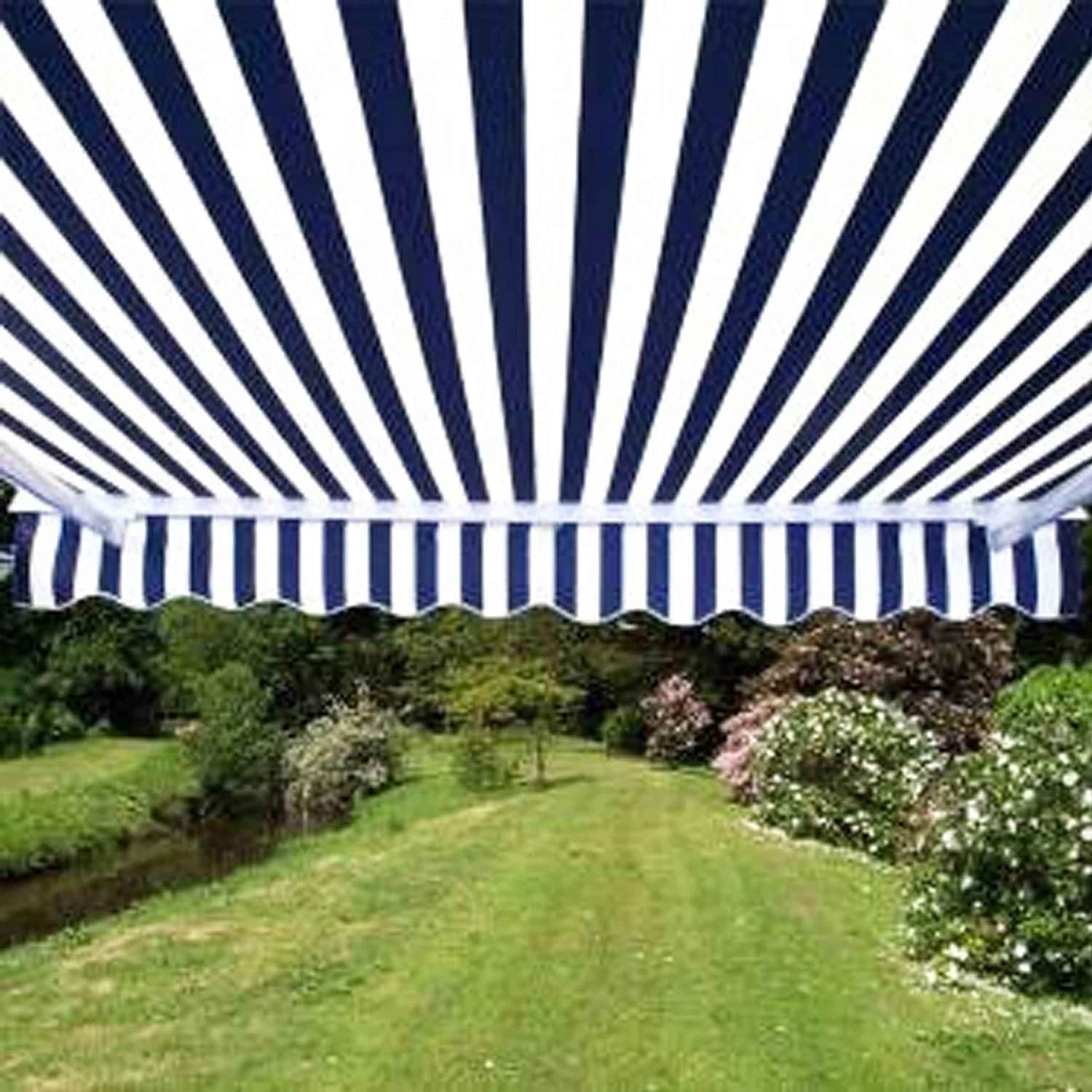 aleko motorized 13 x 10 ft retractable outdoor patio awning blue white