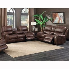 Reclining Sofa With Nailhead Trim White Leather Circular Shop Spencer Buckskin Brown Power And Console Loveseat