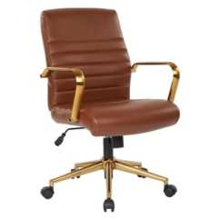 Lumbar Support Office Chair Glider And Ottoman Babies R Us Buy Brown Conference Room Chairs Online At Osp Home Furnishings Baldwin Mid Back Faux Leather With Gold Finish Arms Base